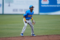 Myrtle Beach Pelicans shortstop Yeison Santana (16) on defense against the Lynchburg Hillcats at Bank of the James Stadium on May 22, 2021 in Lynchburg, Virginia. (Brian Westerholt/Four Seam Images)