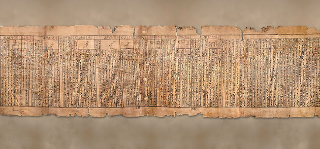 """Ancient Egyptian Book of the Dead papyrus - Spell 81a assuming the form of a lotus associated with the sun god, Iufankh's Book of the Dead, Ptolemaic period (332-30BC).Turin Egyptian Museum. <br /> <br /> The spell reads """" I am a pure lotus that has ascended by the Sinlight and ia at Ra's nose. I spend my time shedding it on Horus. I am the pure lotus that ascended from the field"""". <br /> <br /> The translation of  Iuefankh's Book of the Dead papyrus by Richard Lepsius marked a truning point in the studies of ancient Egyptian funereal studies."""