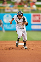 David Fletcher (15) of the Salt Lake Bees hustles to third base against the Fresno Grizzlies at Smith's Ballpark on September 3, 2017 in Salt Lake City, Utah. The Bees defeated the Grizzlies 10-8. (Stephen Smith/Four Seam Images)