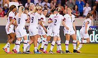 HOUSTON, TX - FEBRUARY 03: Samantha Mewis #3 of the United States celebrates her goal with her USWNT during a game between Costa Rica and USWNT at BBVA Stadium on February 03, 2020 in Houston, Texas.