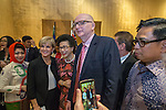 21 March 2016, Jakarta, Indonesia:  Australia's Foreign Minister Julie Bishop and Ambassador Paul Grigson pose with guests following the official proceedings at the opening of the new Australian Embassy in Jakarta. The function included traditional welcomes, dancing and speeches from Australian and Indonesian guests. Picture by  Graham Crouch/DFAT