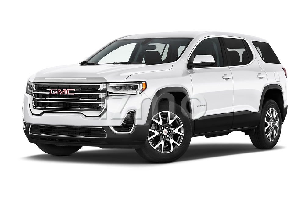 Stock pictures of low aggressive front three quarter view of 2020 GMC Acadia SLE 5 Door SUV Low Aggressive