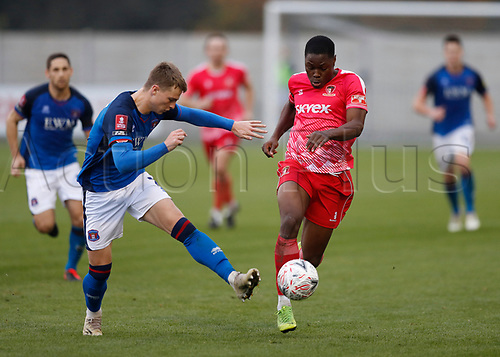 8th November 2020; SkyEx Community Stadium, London, England; Football Association Cup, Hayes and Yeading United versus Carlisle United; George Tanner of Carlisle United challenges Francis Amartey of Hayes & Yeading United