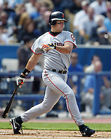 J.T. Snow of the San Francisco Giants bats during a 2002 MLB season game against the Los Angeles Dodgers at Dodger Stadium, in Los Angeles, California. (Larry Goren/Four Seam Images)