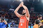 Valencia Basket's Bojan Dubljevic celebrating the victory during Semi Finals match of 2017 King's Cup at Fernando Buesa Arena in Vitoria, Spain. February 18, 2017. (ALTERPHOTOS/BorjaB.Hojas)