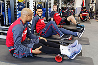 (L-R) Andre Ayew, Luciano Narsingh and Mike van der Hoorn exercise in the gym during the Swansea City Training at The Fairwood Training Ground, Swansea, Wales, UK. Wednesday 21 February 2018