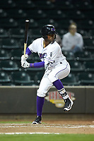 Ti'Quan Forbes (10) of the Winston-Salem Dash at bat against the Salem Red Sox at BB&T Ballpark on April 20, 2018 in Winston-Salem, North Carolina.  The Red Sox defeated the Dash 10-3.  (Brian Westerholt/Four Seam Images)