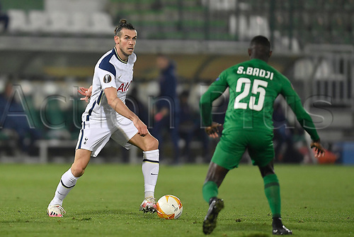 5th November 2020; RAZGRAD, BULGARIA; UEFA Europa League football, group stages;  Ludogorets Razgrad versus Tottenham Hotspur;  Gareth Bale of Tottenham takes on Badji of Ludogorets