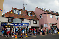 Wells Next The Sea, Norfolk, England, 09/08/2009..Queuing for fish and chips at Wells seafront..