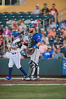 Cameron Rupp (21) of the Round Rock Express on defense against the Omaha Storm Chasers at Werner Park on May 27, 2018 in Papillion , Nebraska. Round Rock defeated Omaha 8-3. (Stephen Smith/Four Seam Images)