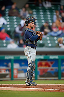 Toledo Mud Hens catcher Bryan Holaday (6) during a game against the Indianapolis Indians on May 2, 2017 at Victory Field in Indianapolis, Indiana.  Indianapolis defeated Toledo 9-2.  (Mike Janes/Four Seam Images)