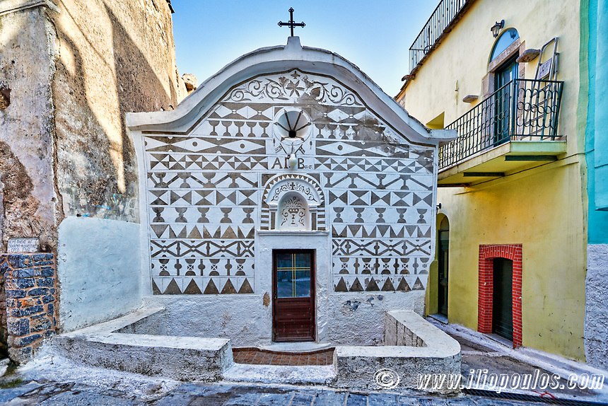 Agios Vasileios church decorated with the famous geometric scratch patterns in the medieval mastic village of Pyrgi on the island of Chios, Greece