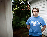 """May 20, 2010. Chapel Hill, North Carolina.. After 3 years in the ROTC program at the University of North Carolina, Sara Isaacson told her commanding officer that she was a lesbian. She was immediately discharged from service and has now been asked to payback the $80,000 in tuition that the military paid for..She has gone public with her case in hopes of pushing the federal government and the military to repeal the """"don't ask, don't tell"""" policy that has dictated how gays in the military are treated for the last 20 years.."""