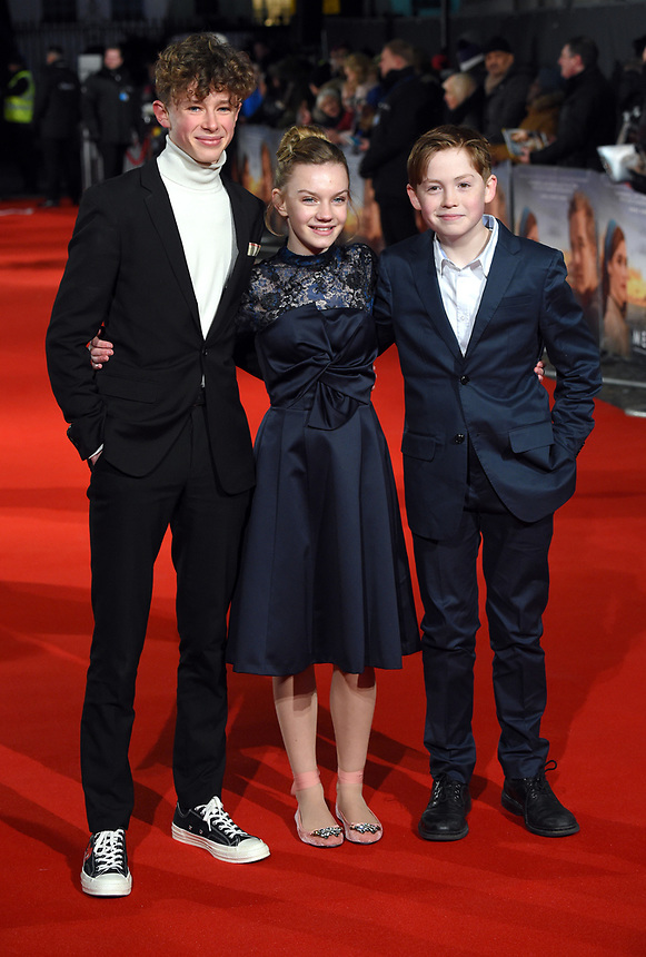 "Finn Elliot, Eleanor Stagg and Kit Connor<br /> arriving for the premiere of ""The Mercy"" at the Curzon Mayfair, London<br /> <br /> <br /> ©Ash Knotek  D3375  06/02/2018"