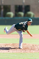 Oakland Athletics relief pitcher Bryce Nightengale (46) follows through on his delivery during an Instructional League game against the Los Angeles Dodgers at Camelback Ranch on September 27, 2018 in Glendale, Arizona. (Zachary Lucy/Four Seam Images)
