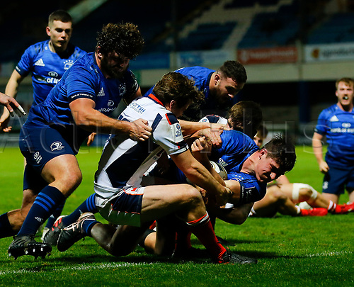 16th November 2020; RDS Arena, Dublin, Leinster, Ireland; Guinness Pro 14 Rugby, Leinster versus Edinburgh; Dan Sheehan of Leinster is held up short of the try line