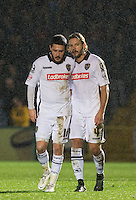 Alan Smith of Notts County talks with red carded Liam Noble of Notts County during the Sky Bet League 2 match between Wycombe Wanderers and Notts County at Adams Park, High Wycombe, England on 15 December 2015. Photo by Andy Rowland.