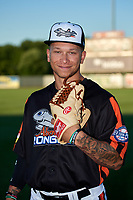 Aberdeen IronBirds pitcher J.J. Montgomery (52) poses for a photo before a game against the Staten Island Yankees on August 23, 2018 at Leidos Field at Ripken Stadium in Aberdeen, Maryland.  Aberdeen defeated Staten Island 6-2.  (Mike Janes/Four Seam Images)