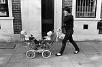 Battersea London young mum and twins pram. 1983
