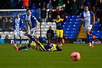 Saturday 25 January 2014<br /> Pictured: Roland Lamah  lies injured <br /> Re: Birmingham City v Swansea City FA Cup fourth round match at St. Andrew's Birimingham