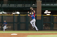 AZL Rangers second baseman Kenen Irizarry (19) leaps to make a catch during an Arizona League game against the AZL Giants Black at Scottsdale Stadium on August 4, 2018 in Scottsdale, Arizona. The AZL Giants Black defeated the AZL Rangers by a score of 6-3 in the second game of a doubleheader. (Zachary Lucy/Four Seam Images)
