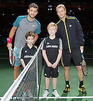 11-02-14, Netherlands,Rotterdam,Ahoy, ABNAMROWTT,Grigor Dimitrov(BUL) and Dimitry Tursunov(RUS)with escorts<br /> Photo:Tennisimages/Henk Koster