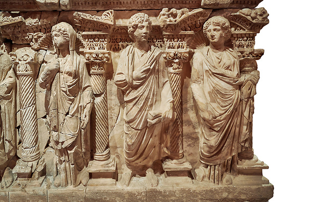"""Roman relief sculpted sarcophagus of Domitias Julianus and Domita Philiska, 2nd century AD, Perge. Antalya Archaeology Museum, Turkey.<br /> <br /> <br /> it is from the group of tombs classified as. """"Columned Sarcophagi of Asia Minor"""". <br /> The lid of the sarcophagus is sculpted into the form of a """"Kline"""" style Roman couch on which lie Julianus &  Philiska. This type of Sarcophagus is also known as a Sydemara Type of Tomb.. Against a white background."""