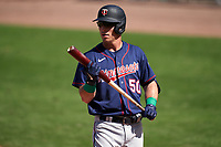 Minnesota Twins Brent Rooker (50) bats during a Major League Spring Training game against the Boston Red Sox on March 17, 2021 at JetBlue Park in Fort Myers, Florida.  (Mike Janes/Four Seam Images)