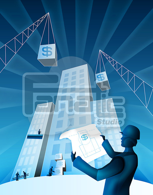 Architect holding a blueprint at a construction site