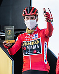 Race leader Primoz Poglic (SLO) Team Jumbo-Visma stage winner yesterday at sign on before the start of Stage 14 of the Vuelta Espana 2020, running 204.7km from Lugo to Ourense, Spain. 4th November 2020.<br /> Picture: Unipublic/BaixauliStudio | Cyclefile<br /> <br /> All photos usage must carry mandatory copyright credit (© Cyclefile | Unipublic/BaixauliStudio)