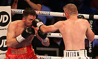 9th October 2021; M&S Bank Arena, Liverpool, England; Matchroom Boxing, Liam Smith versus Anthony Fowler; LIAM SMITH (Liverpool, England)jabs ANTHONY FOWLER (Liverpool, England) during their WBA International Super-Welterweight Title contest