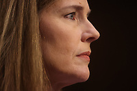 United States Supreme Court nominee Judge Amy Coney Barrett is seated prior to the start of the third day of Senate Judiciary Committee confirmation hearings for Judge Barrett on Capitol Hill in Washington, U.S., October 14, 2020. <br /> CAP/MPI/RS<br /> ©RS/MPI/Capital Pictures