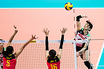 Wing spiker Risa Shinnabe of Japan (R) spikes the ball during the FIVB Volleyball World Grand Prix match between China vs Japan on July 21, 2017 in Hong Kong, China. Photo by Marcio Rodrigo Machado / Power Sport Images