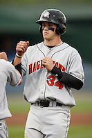 Hagerstown Suns Bryce Harper in his professional debut vs. the Rome Braves at State Mutual Stadium in Rome, Georgia April 7, 2011.   Hagerstown defeated Rome by a score of 3-2. Harper finished the game 2/4, with an RBI and a stolen base. Photo By David Stoner / Four Seam Images