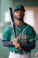 Infielder Liover Peguero (10) of the Greensboro Grasshoppers poses for a portrait before a game against the Greenville Drive on Friday, July 23, 2021, at Fluor Field at the West End in Greenville, South Carolina. (Tom Priddy/Four Seam Images)