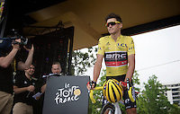 yellow jersey Greg Van Avermaet (BEL/BMC) on the start podium<br /> <br /> start of stage 8 in Pau (towards Bagnères-de-Luchon, 184km)<br /> 103rd Tour de France 2016