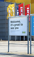 Furniture giant Ikea announce that they will open 19 of its stores across England and Northern Ireland on 1 June. Included in the list is this one at Milton Keynes pictured on May 23rd 2020  <br /> <br /> Photo by Keith Mayhew