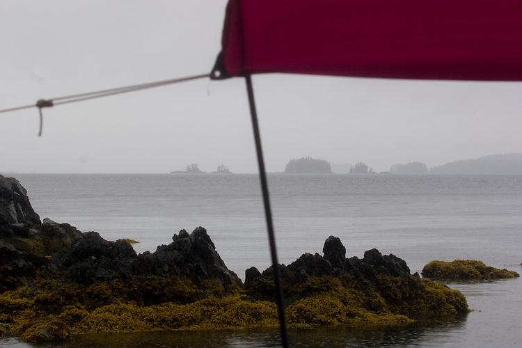 Alaska, Prince William Sound, weather, Under the tarp, Sea kayaker's camp, Ragged Point,