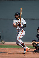 San Francisco Giants first baseman Robinson Medrano (22) follows through on his swing during a Minor League Spring Training game against the Cleveland Indians at the San Francisco Giants Training Complex on March 14, 2018 in Scottsdale, Arizona. (Zachary Lucy/Four Seam Images)
