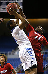 Centennial's Justice Ethridge tries to shoot past Liberty's Dre'una Edwards during the NIAA state basketball tournament in Reno, Nev., on Friday, Feb. 23, 2018. Centennial won the title, 74-65 in overtime. Cathleen Allison/Las Vegas Review-Journal