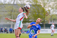 Marie Detruyer (17) of OHL and Chloe Vande Velde (10) of AA Gent pictured during a female soccer game between AA Gent Ladies and Oud Heverlee Leuven on the fourth matchday of play off 1 in the 2020 - 2021 season of Belgian Scooore Womens Super League , saturday 1 st of May 2021  in Oostakker , Belgium . PHOTO SPORTPIX.BE | SPP | STIJN AUDOOREN