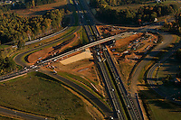 Aerial view of Charlotte highways. Image shows a new intersection being built on I-77 near the Lowe's campus (Exit 32).