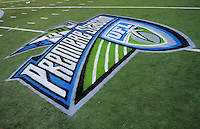 Oct. 8, 2009; Las Vegas, NV, USA; Detailed view of a UFL logo on the field prior to the game between the California Redwoods against the Las Vegas Locomotives in the inaugural United Football League game at Sam Boyd Stadium. Las Vegas defeated California 30-17. Mandatory Credit: Mark J. Rebilas-