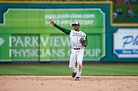 Fort Wayne TinCaps second baseman Xavier Edwards (9) during a Midwest League game against the Kane County Cougars at Parkview Field on May 1, 2019 in Fort Wayne, Indiana. Fort Wayne defeated Kane County 10-4. (Zachary Lucy/Four Seam Images)