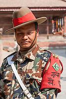 Nepal, Kathmandu.  Nepalese Guard in Military Uniform, Durbar Square.