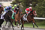 Positive Responce with Julien Couton (white cap), Son of Posse with Rafael Mojica (black cap) and Decisive Moment with Kerwin Clark (blue cap) duel for position as the field pass the stands for the first time in The Vinery Racing Spiral Stakes at Turfway Park. Florence, KY. 2011.03.26