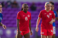 ORLANDO, FL - FEBRUARY 24: Deanne Rose #6 of the CANWNT waits for the corner during a game between Brazil and Canada at Exploria Stadium on February 24, 2021 in Orlando, Florida.