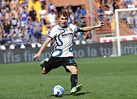 12th September 2021; G.Ferraris Stadium, Genoa, Italy; Serie A football, Sampdoria versus Inter Milan; Nicolo Barella of Inter hits the ball long upfield