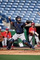 New York Yankees catcher Anthony Seigler (11) throws to second base during a Florida Instructional League game against the Philadelphia Phillies on October 12, 2018 at Spectrum Field in Clearwater, Florida.  (Mike Janes/Four Seam Images)