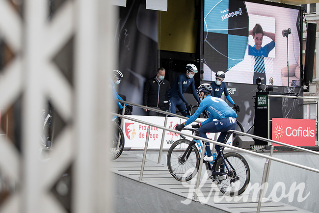 Alejandro Valverde (ESP/Movistar) on his 41st birthday at the race start in Liège<br /> <br /> 107th Liège-Bastogne-Liège 2021 (1.UWT)<br /> 1 day race from Liège to Liège (259km)<br /> <br /> ©kramon
